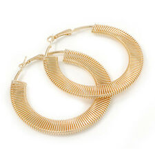 Large Gold Plated Coil Spring Round Flat Hoop Earrings - 60mm D