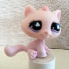 Littlest Pet Shop #606 Pink Sitting Tabby Cat Freckles Purple Clover Eyes 9 pics
