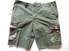 New Ralph Lauren Denim and Supply Green Camo Pocket Flag Patch Cargo Shorts 34