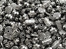 50 + Mixed Large Tibetan Silver Metal Spacer Carved Alloy Beads 7mm - 14mm