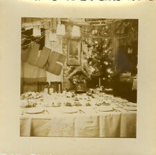 PHOTO ANCIENNE - VINTAGE SNAPSHOT - NOËL CRÈCHE TABLE REPAS -CHRISTMAS MEAL TREE