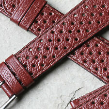 Vintage brown all perforated leather 20mm NOS 1960s/70s rally band 14 sold here