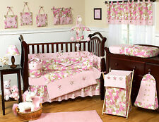 Pink Brown Army Camouflage Baby Girl Crib Bedding Set for Newborn Sweet Jojo
