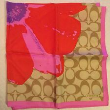 NWT COACH *POPPY* Flower Signature Pink Purple Red Floral Silk Scarf ~3413~ RARE