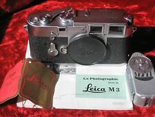 "Leica M3 35mm Double Stroke Rangefinder Film Camera w/ Meter, Red Tag.""L"" Seal"