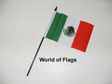 """MEXICO SMALL HAND WAVING FLAG 6"""" x 4"""" Mexican Crafts Table Desk Top Display"""