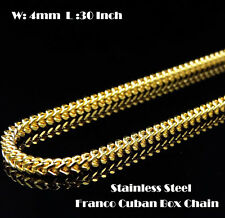 "Mens 30"" & 4mm Gold Stainless Steel Franco Cuban Box Chain Link Necklace 201G"