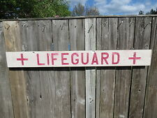 48 INCH WOOD HAND PAINTED LIFEGUARD SIGN NAUTICAL SEAFOOD (#S475)
