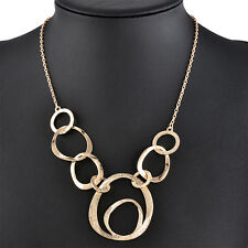 Gold Plated Circle Fashion Pendant Statement Long Chain Sweater Necklace Jewelry