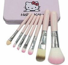 7Pcs High Quality Pink Hello Kitty Soft Cosmetic Makeup Brush Set With Case