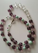 Vintage Amethyst Crystal Necklace with Pale Green Ceramic Beads & Clear Crystals