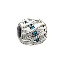 Authentic Chamilia Sterling Charm Enchanting Spiral Bead New Swarovski Blue