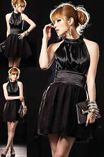 WOMEN BLACK SEXY ABOVE KNEES DRESS T-BACK SILK FEEL PARTY BALL DANCE SIZE 6-12
