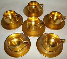 6 Rosenthal Selb Art Deco Style Donatello Pattern Gold Encrusted Cups Saucers