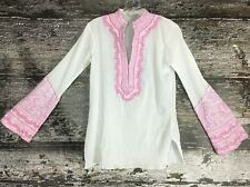 SULU Pink White Bias Embroidered Tunic Top Caftan Blouse $259 Indian 4 S