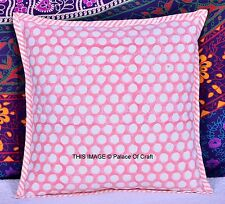 "Polka Dot Cushion Cover Ethnic Indian Handmade Pillow Case 16"" Decorative Decor"