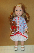 CHRISTMAS DRESS & GINGER BREAD MAN FOR AMERICAN GIRL DOLL WELLIE WISHERS 14.5""
