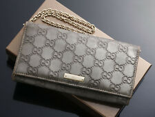 G5865 Authentic GUCCI Guccissima Genuine Leather Long Wallet With Chain