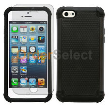 Hybrid Rugged Rubber Matte Hard Case Skin+Screen Guard for Apple iPhone 5C Black