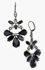 ANNE KLEIN Jet Black Faceted Stone Hematite Tone Chandelier Earrings