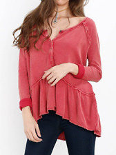 FREE PEOPLE WE THE FREE COASTLINE RED LONG SLEEVE THERMAL HENLEY PEPLUM TOP L