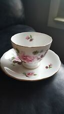 Queen Anne Bone China Rose Tea Cup And Saucer Gold Rim England Pattern 8228