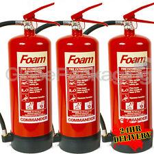 3 x 6 LITRE FOAM FIRE EXTINGUISHERS CE MARKED+ BRACKETS