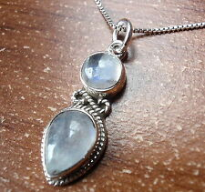 Moonstone Double Gem 925 Sterling Silver Necklace Corona Sun Jewelry
