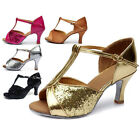 Women's Ballroom Latin Tango Dance Shoes heeled Salsa 7cm Rose/Brown/Gide/Sliver