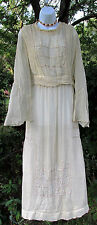 French Antique Vintage Edwardian Beaded Fluer de Lis Lawn Tea Wedding Dress Gown