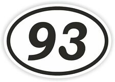 93 NINETY-THREE NUMBER OVAL STICKER bumper decal motocross motorcycle Aufkleber