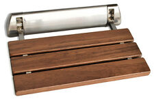 K Teak Wood Wall Mounted Folding Shower Seat by SteamSpa - Brushed Nickel