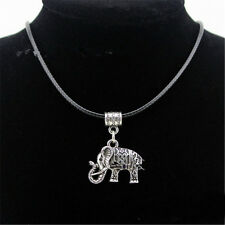 Women Tibet Silver Jewelry Set Elephant Statement Pendant Earring+Necklace hot