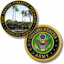 US Army Fort Shafter Challenge Coin Pineapple Pentagon Oahu Hawaii HI Ft Base