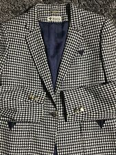 DIANA High Class Ladies Wear Blazer Coat Wool Blue White Houndstooth Small/Med
