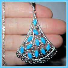 HUGE! Sleeping Beauty Turquoise Necklace Pendant + Chain 20' Sterling Silver 925