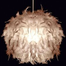 Stunning  UNIQUE White Feather Lightshade Light Pendant New