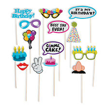 12 Happy Birthday REUSEABLE BUBBLE Photo booth Stick Prop party game FUN