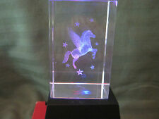 3D Laser Etched Crystal Glass Paperwieght  'Pegasus' w/Lighted Stand & Box
