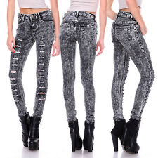 Womens Stone Stretch Ripped Distressed Slim Skinny Jeans Pants BLACK 22