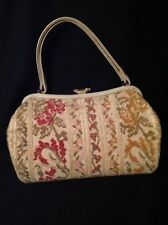 50's '60's VINTAGE CARPET CHENILLE PURSE HANDBAG Red Orange Pink Green Floral