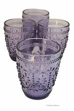 Set 4 Embossed Vintage Depression Purple Double Old-Fashioned Whiskey Glasses