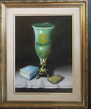 FRAMED OIL ON BOARD PAINTING signed A STILL LIFE STUDY OF A VASE AND BOXES