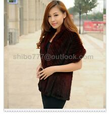 100% Real Knitted Mink Fur Scarf Cape Shawl Wrap Stole Coat Evening Ladies Women