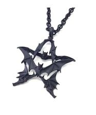 5 VAMPIRE BAT PENTAGRAM STAR NECKLACE GOTHIC PUNK DEATHROCK PSYCHOBILLY BLACK