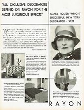 1920's BIG Vintage Rayon - Interior Decorator Agnes Foster Wright Photo Print Ad