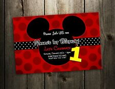 MICKEY MOUSE INVITATION BIRTHDAY PARTY CARD PHOTO RED INVITES F5- 9 DESIGNS !