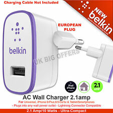 Belkin 2.1 Amp USB AC Wall Charger Universal for Smartphone Tablets EU Plug New