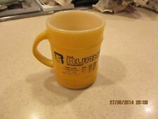 Fire-King Yellow Ridged Advertising Coffee Mug