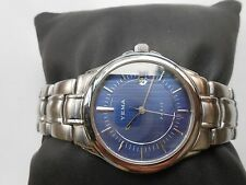 EXCELLENT SS SAPPHIRE FRANCE MADE NAVY BLUE YEMA PARIS QUARTZ MENS WRISTWATCH